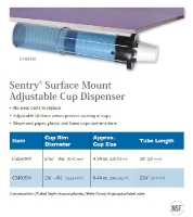SENTRY SURFACE MOUNT ADJUSTABLE CUP DISPENSER