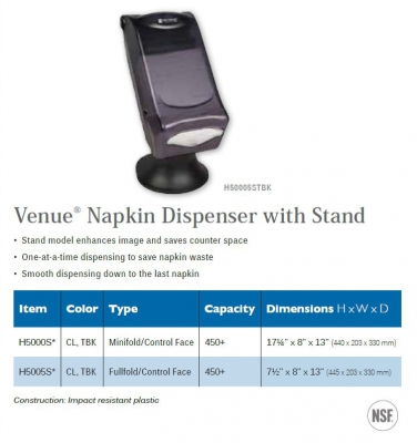 VENUE NAPKIN DISPENSERS WITH STAND