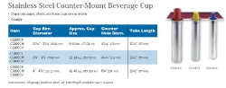 STAINLESS STEEL COUNTER-MOUNT BEVERAGE CUP